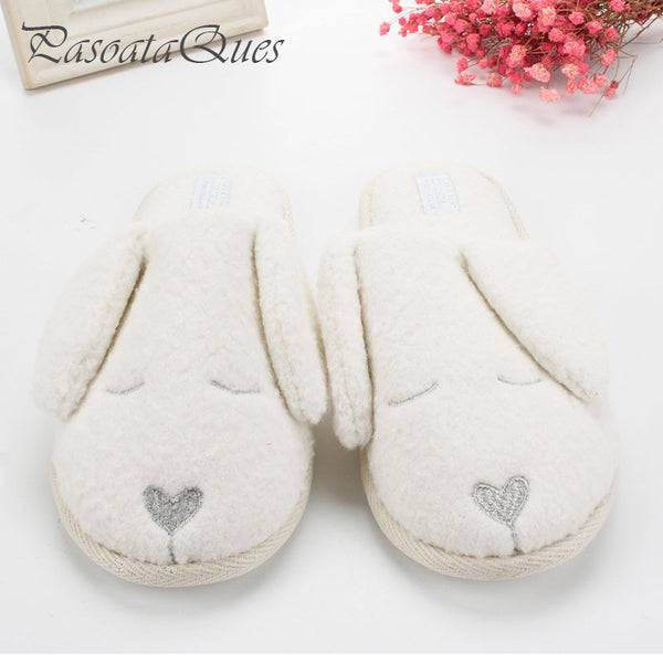 ... Cute Dog Animal Pattern Cotton Bedroom Adult Guest House Slippers  Winter Soft Bottom Flats ...