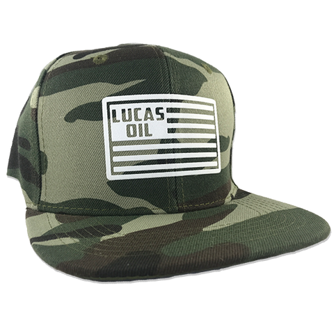 Lucas Oil American Flag Camo Snapback Hat