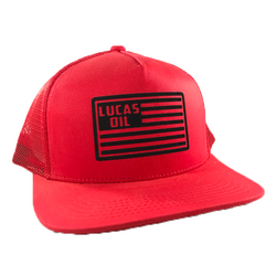 Red Lucas Oil Flag Mesh Snapback Hat