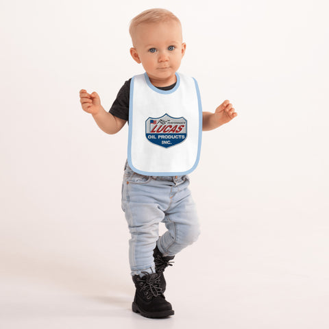 Embroidered Lucas Oil Baby Bib