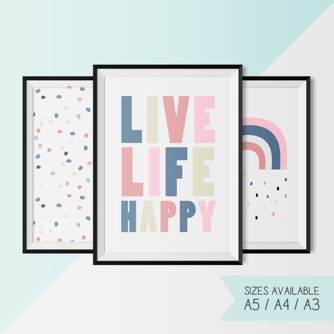 LIVE LIFE HAPPY - RAINBOW - DOTS Set
