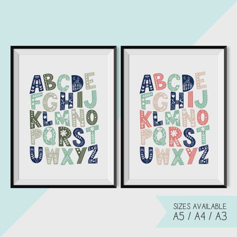 ALPHABET - MULTICOLOURED / BOTANICAL