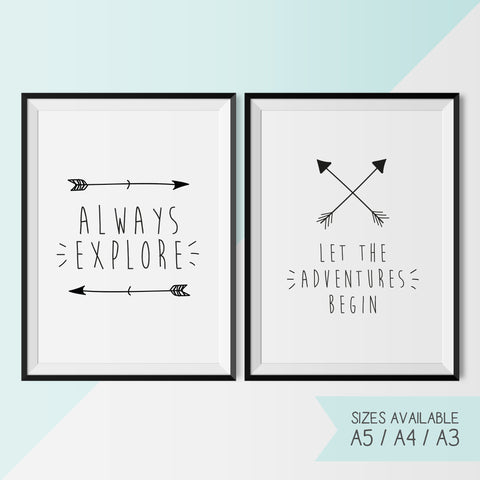 ALWAYS EXPLORE & LET THE ADVENTURES BEGIN - Arrows - Set