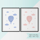 HOT AIR BALLOON - PINK / BLUE