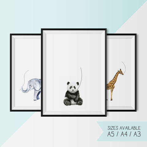 BABY SHOWER - ELEPHANT / GIRAFFE / PANDA - FINGERPRINT