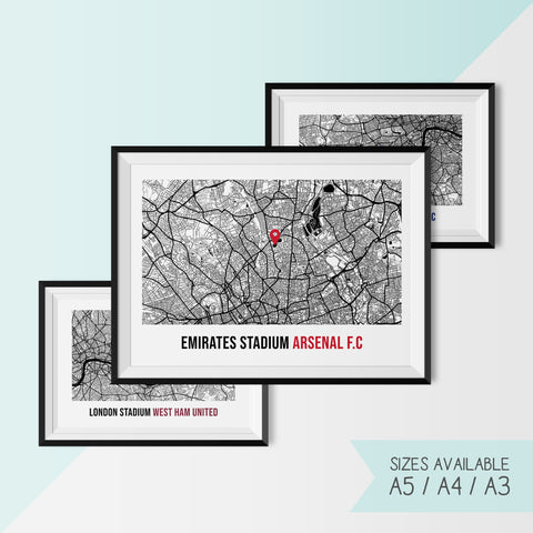 FOOTBALL STADIUM LOCATION - ARSENAL, CHELSEA, TOTTENHAM, WEST HAM UNITED & MORE