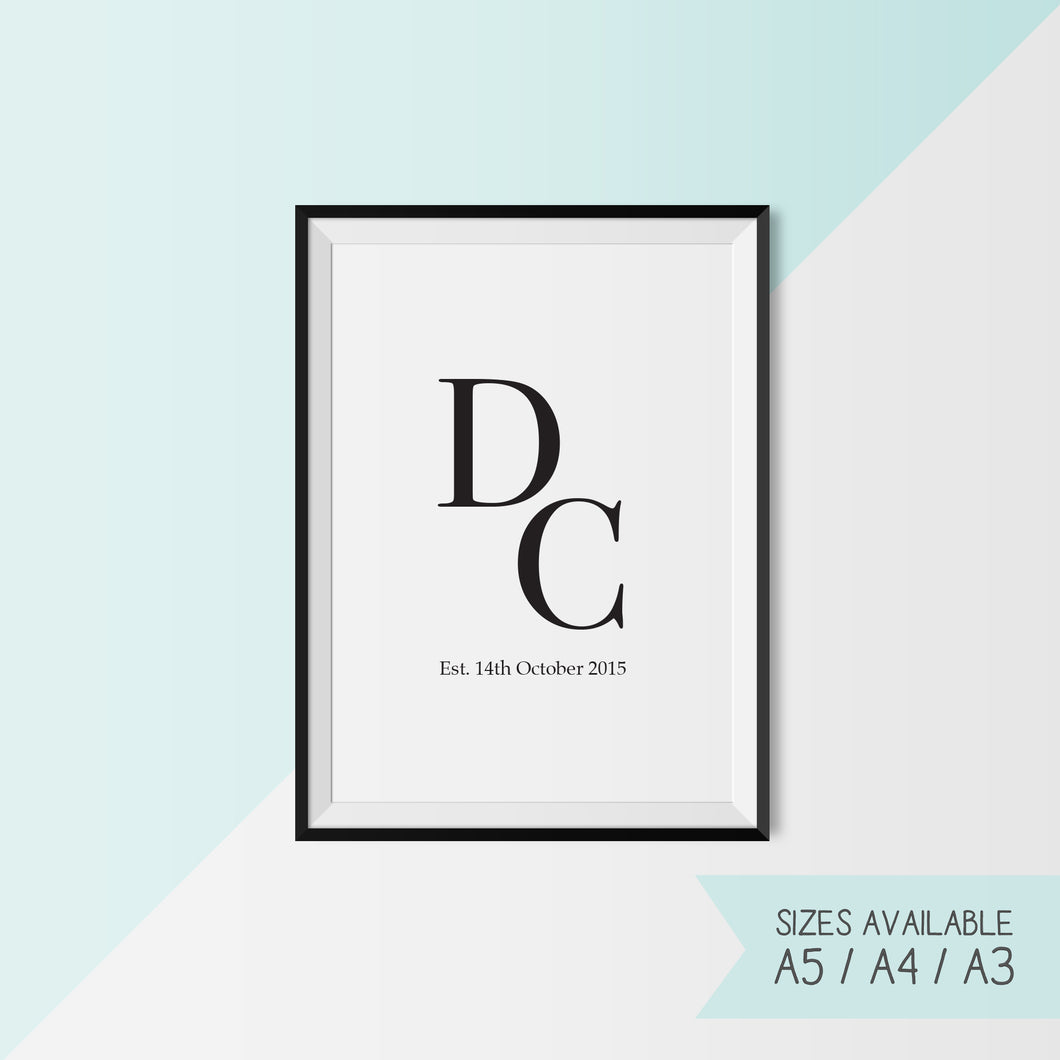 INITIALS AND DATE - CUSTOMISABLE