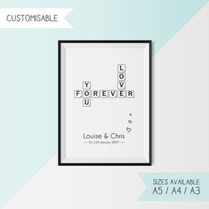 LOVE YOU FOREVER - SCRABBLE - CUSTOMISABLE