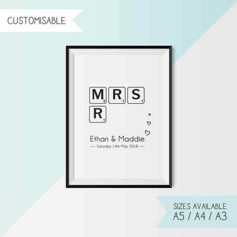 MR & MRS - SCRABBLE - CUSTOMISABLE