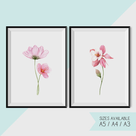 PINK WATERCOLOUR FLOWERS - Set