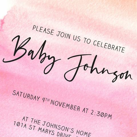 BABY SHOWER - Invitation - Pink Watercolour