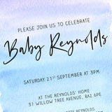 BABY SHOWER - Invitation - Blue Watercolour