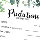 BABY SHOWER - Prediction Game - Leaf / Botanical Theme