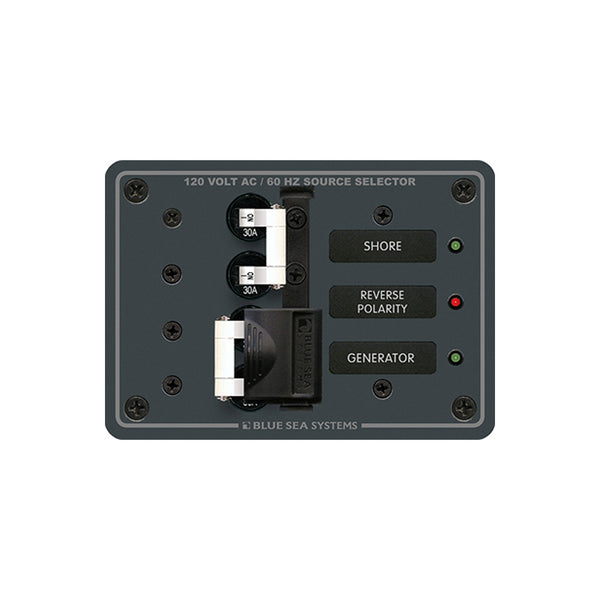 Blue Sea 8032 AC Toggle Source Selector 120v AC 30A  (White Switches)