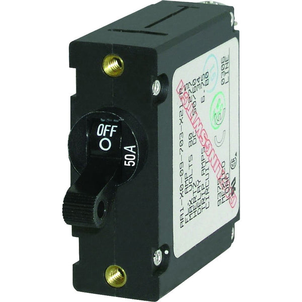 Blue Sea 7228 AC / DC Single Pole Magnetic World Circuit Breaker  -  50 Amp