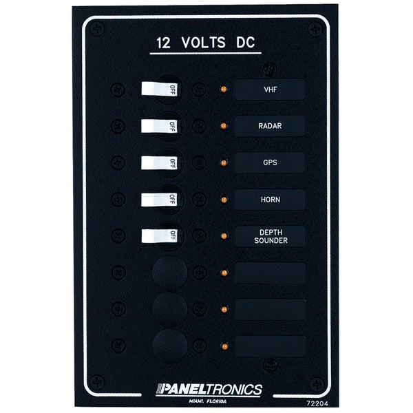 Paneltronics Standard DC 8 Position Breaker Panel w/LEDs