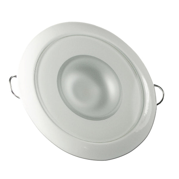 Lumitec Mirage - Flush Mount Down Light - Glass Finish/White Bezel - 2-Color White/Blue Dimming