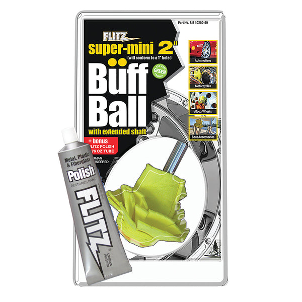 "Flitz Buff Ball - Super Mini 2"" - Yellow w/1.76oz Tube Flitz Polish"