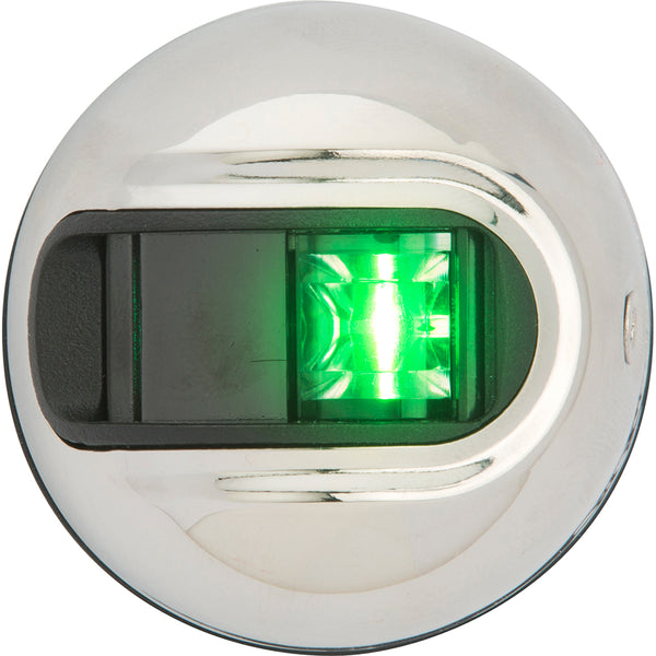 Attwood LightArmor Vertical Surface Mount Navigation Light - Starboard (Green) - Stainless Steel - 2NM