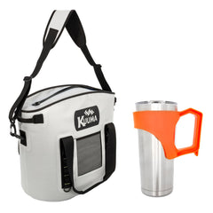 Kuuma 22 Quart Soft-Sided Cooler w/Sealing Zipper - Waterproof Coated Nylon & Free 20oz Tumbler w/Orange Handle