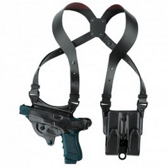 The Aker 107 FlatSider XR7 is a comfortable and versatile shoulder holster for semi-automatic pistols, adapted from the original FlatSider dual slot designs.