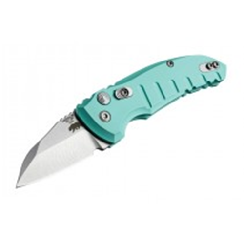 A01-Microswitch 1.95  Folder Wharncliffe Blade Tumble Finish Alum Frame - Aquamarine