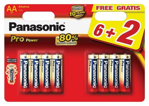 Panasonic Pack 8 Pilhas Alcalinas AA Pro Power 1,5V