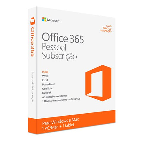 Microsoft Office 365 Personal Português Eurozone 1 Ano Windows/Mac/Android/iOS