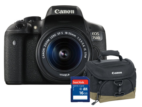 Canon EOS 750D 18-55 IS STM + SD 16GB + Estojo