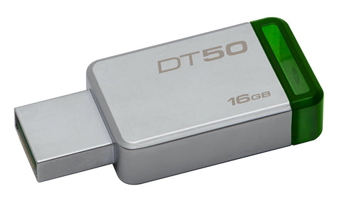 Kingston Pen USB DataTraveler 50 16GB USB 3.1 Prateado/ Verde