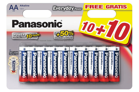 Panasonic Batteries Pack 20 Pilhas Alcalinas AA Everyday Power 1,5V