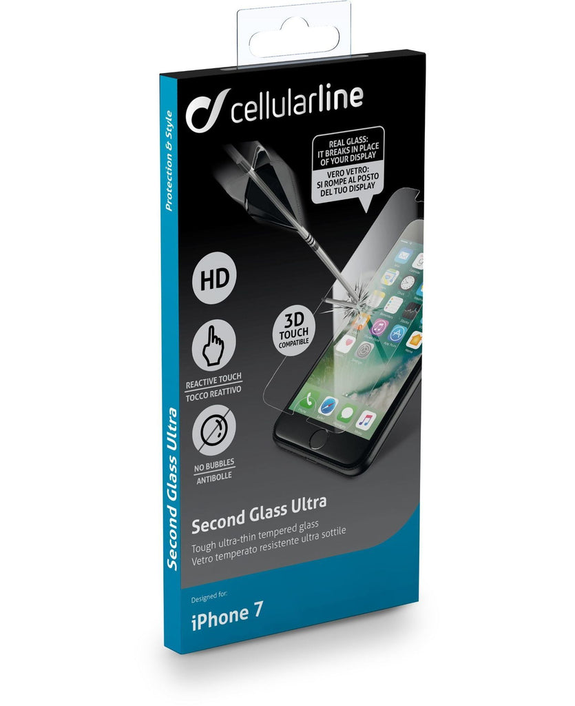 Protetor Ecrã Cellularline Second Glass Ultra iPhone 8 / iPhone 7