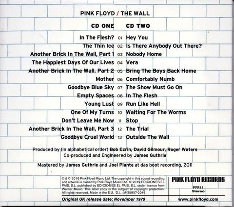 CD Pink Floyd - The Wall 2CD
