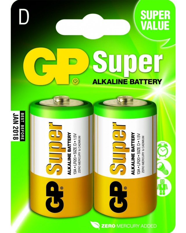 Pilhas Alcalinas GP Batteries Pack 2 D LR20 1.5V