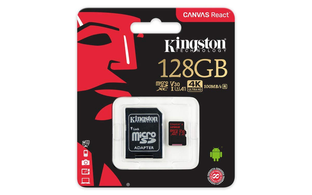 Cartão Micro SD Kingston React 128GB Classe 10 100R/80W