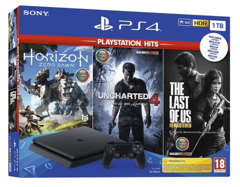 Consola PS4 Slim 1TB + Horizon Zero Dawn + The Last Of Us + Uncharted 4