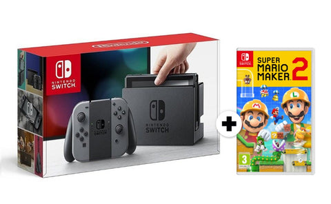 Conjunto Consola Nintendo Switch Cinza + Super Mario Maker 2
