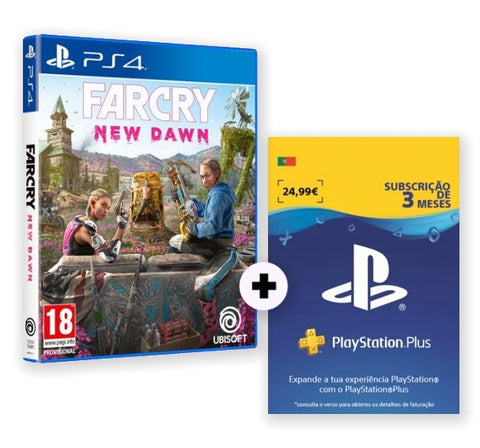 Conjunto PS4 Far Cry New Dawn + PS Plus 3 Meses