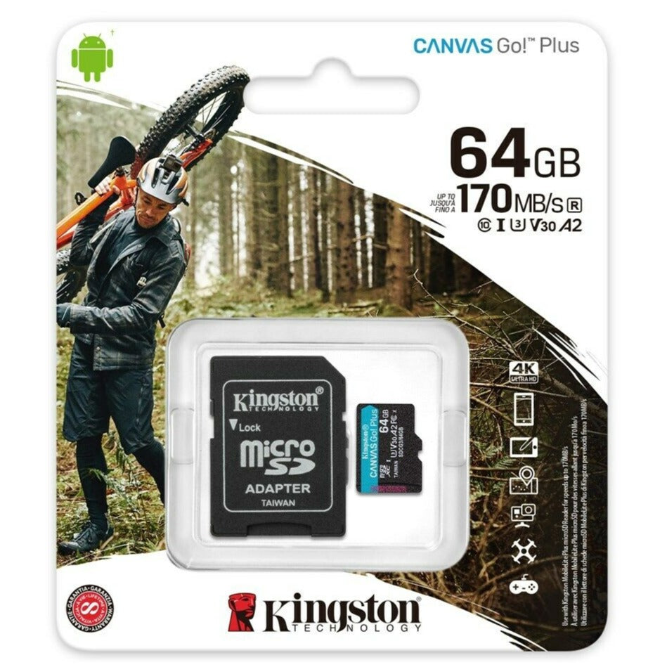 Cartão Micro SDHC Kingston Canvas Go Plus 64GB Classe 10 170MB/s