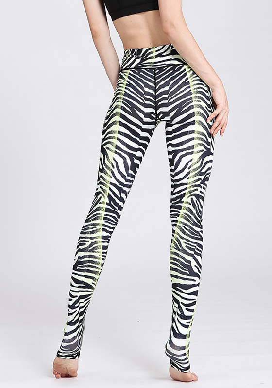High Waist Zebra Printed Yoga Pants