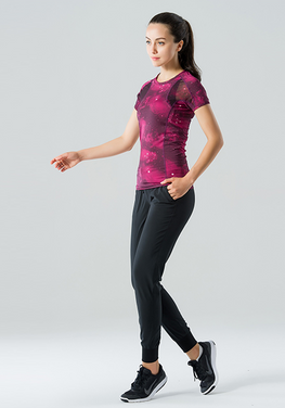 Mesh Panel Short-sleeve Yoga Top