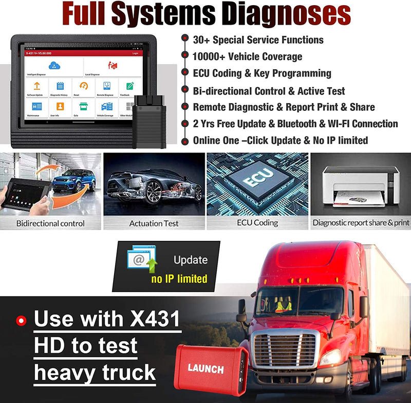 LAUNCH X431 V+ 4.0(Upgrade Version of X431 V PRO) Bi-Directional Full System Diagnostic Scan Tool 30+ Reset Functions, Key Programming,ECU Coding,Active Test,TPMS Reset,Full Connector Kit Free Update - PhenomHouse Group