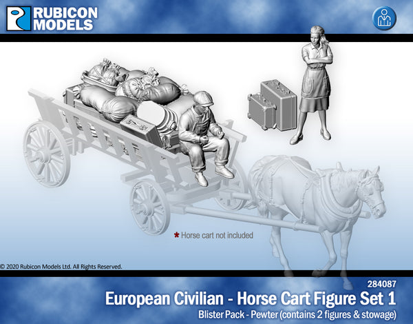 284087 - 	 European Civilians - Horse Cart Figure Set 1