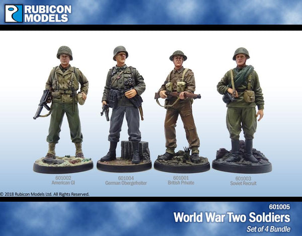 601005 - Set of 4 World War Two Soldiers- Pewter 60mm