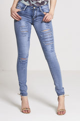 Super Slay - Extreme Ripped Stonewashed Skinny Jeans