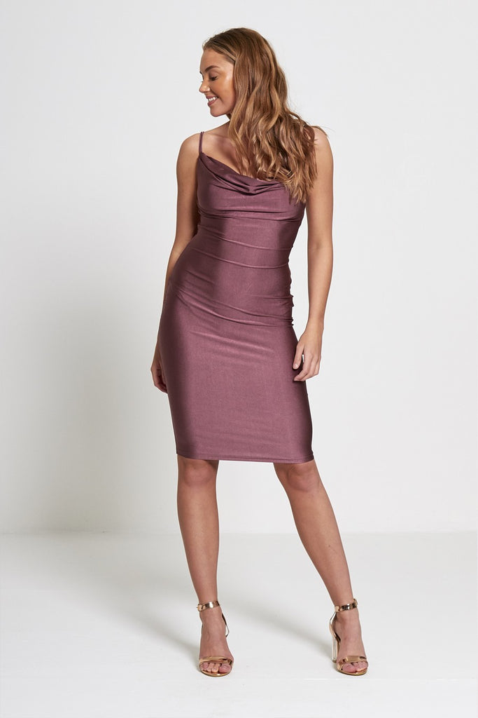 Passion - Purple Strappy Cowl Neck Slinky Dress