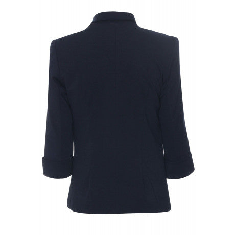 City Chic - Celebrity Inspired - Victoria Beckham - Open Front Smart Jacket - Navy Blue