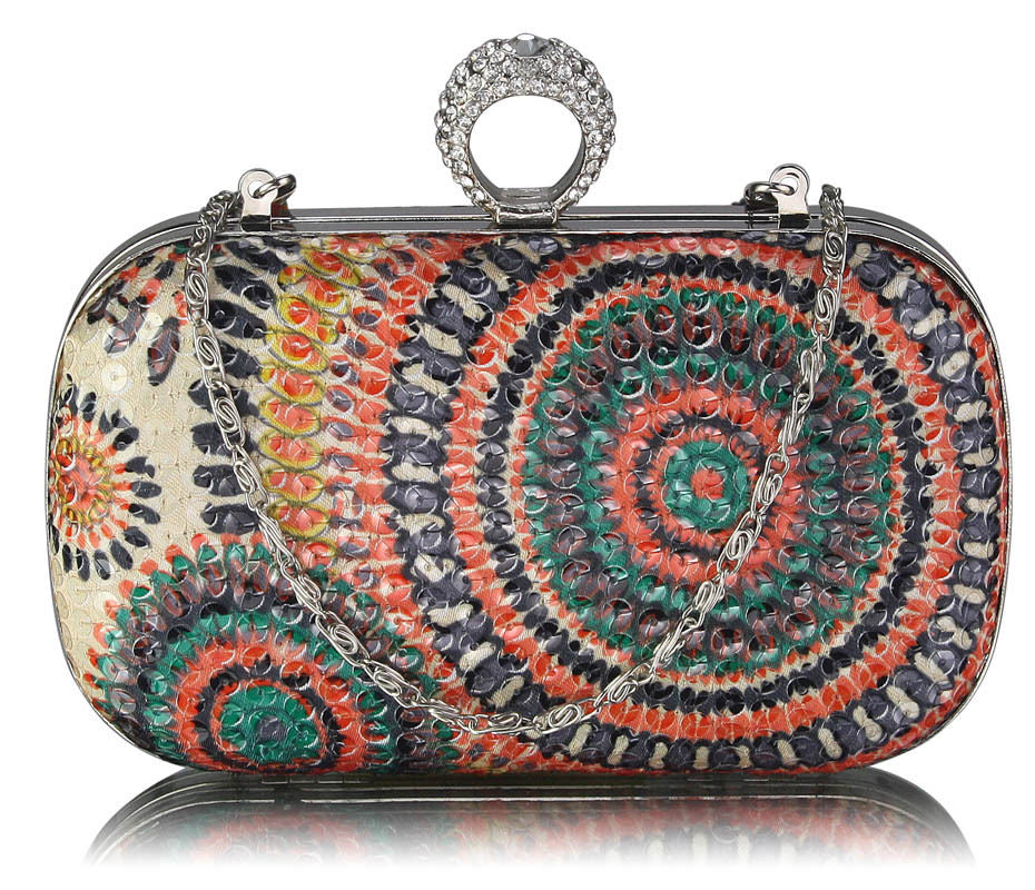 Peacock Sequin Clutch (Bronze)