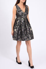 Jacquard - Skater Dress - Black Silver