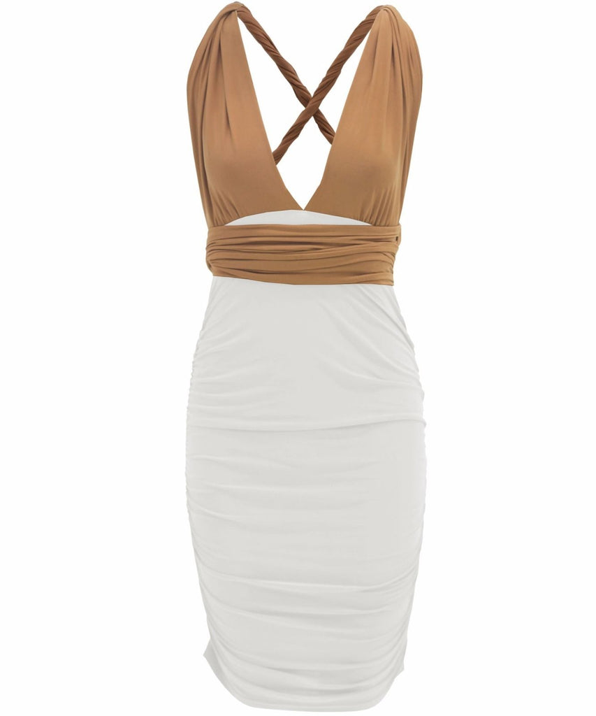 Diverse - Multiway Dress - White/Camel Combo